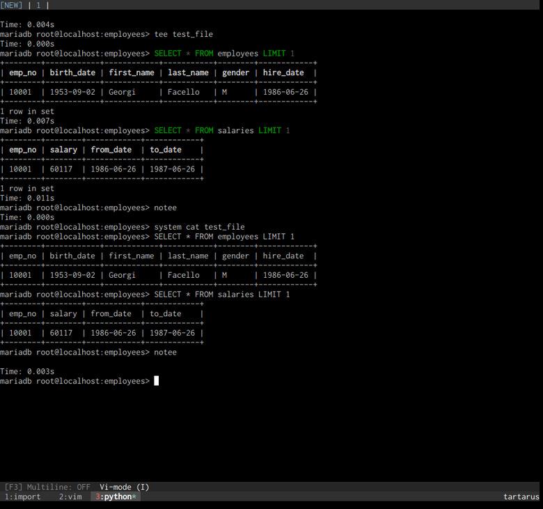 mycli tee functionality