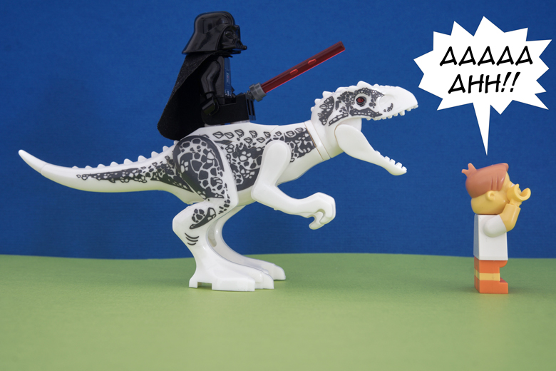 Darth Vader stressing developer on a dinosaur