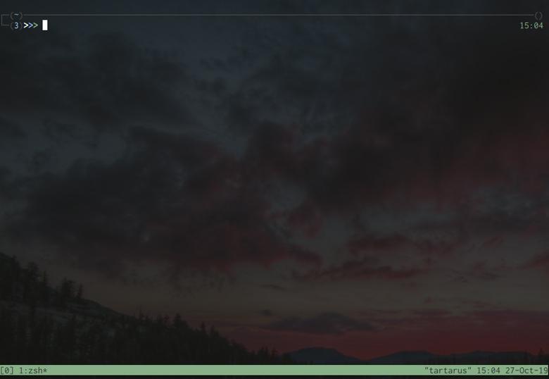 Screenshot of tmux opened