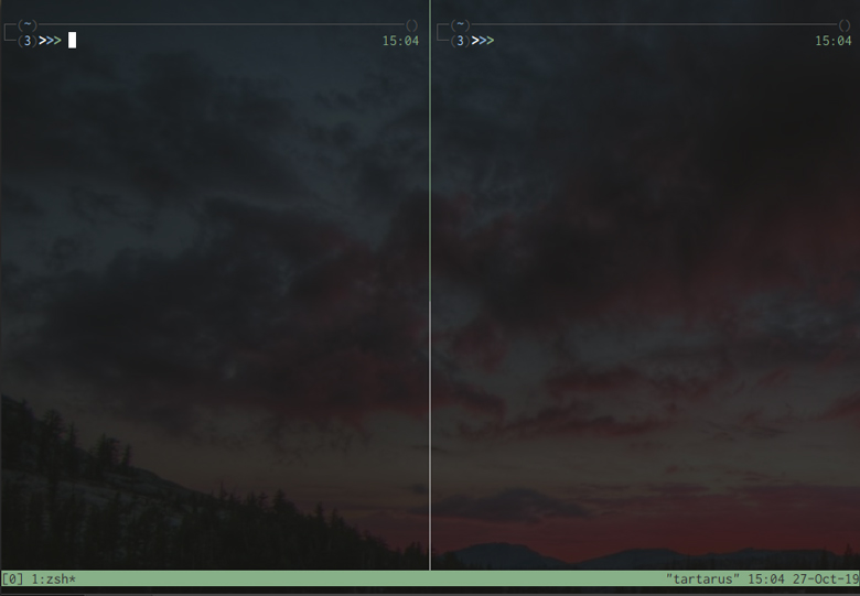 Tmux with two panes